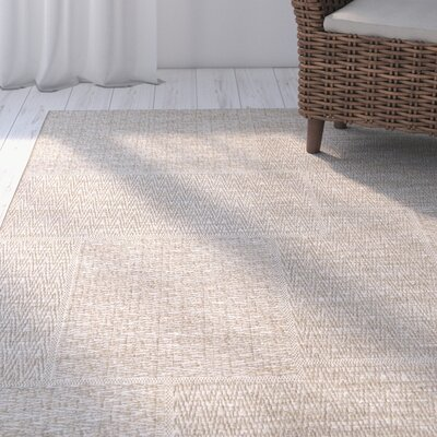 Cuthbert Sand Beige Indoor/Outdoor Area Rug Rug Size: 5'1