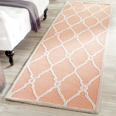 Hagley Hand-Woven Wool Orange/Ivory Area Rug Rug Size: Runner 26 x 8