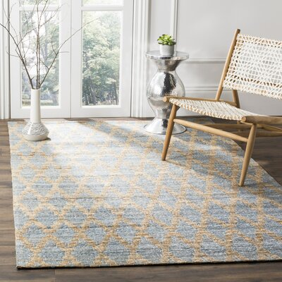 Montserrat Meigs Hand-Woven Light Blue/Gold Area Rug Rug Size: Rectangle 4 x 6