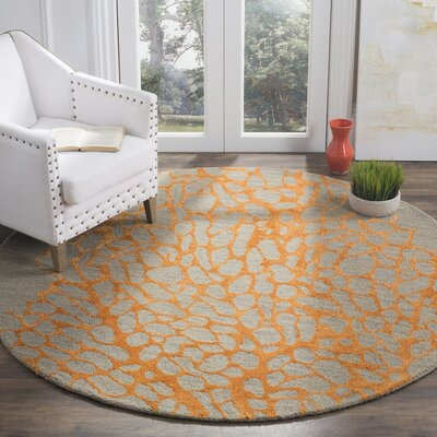 Fitzsimmons Hand-Hooked Gray/Orange Area Rug Rug Size: Square 6'