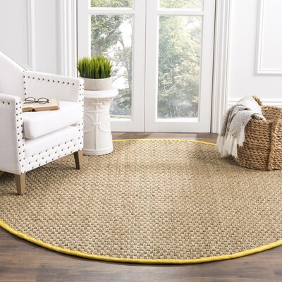 Balfour Natural/Gold Area Rug Rug Size: Round 6