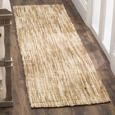 Brookford Hand-Woven Natural/Cream Area Rug Rug Size: Runner 23 x 8