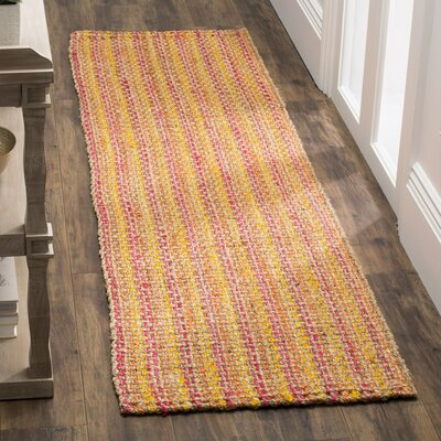 Neta Hand-Woven Pink/Yellow Area Rug Rug Size: Runner 23 x 8