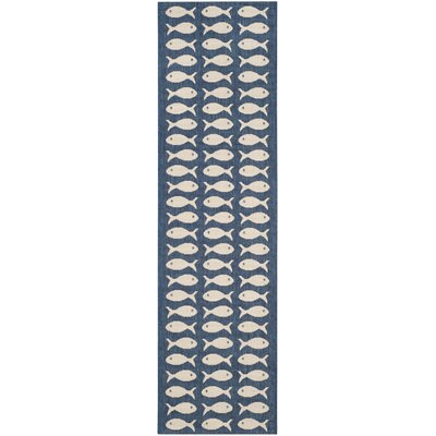Lake Park Navy/Beige Indoor/Outdoor Area Rug Rug Size: Runner 23 x 8