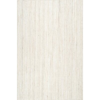 Burrillville Hand-Woven White Area Rug Rug Size: Rectangle 4 x 6