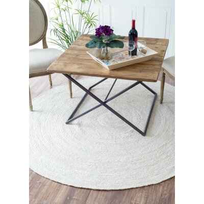 Burrillville Hand-Woven White Area Rug Rug Size: Round 6