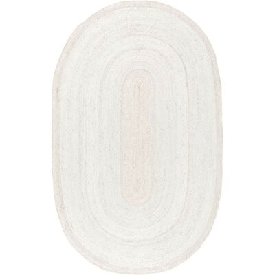 Burrillville Hand-Woven White Area Rug Rug Size: Oval 9 x 12