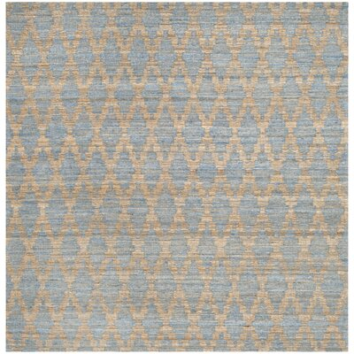 Montserrat Meigs Hand-Woven Light Blue/Gold Area Rug Rug Size: Square 6