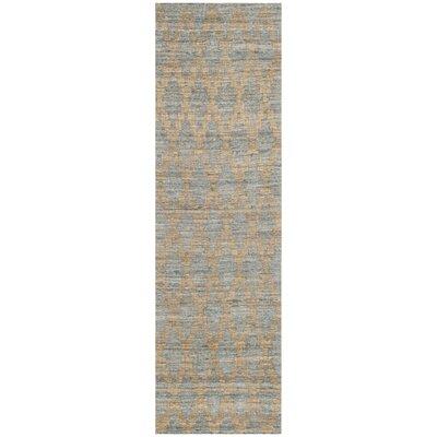 Montserrat Meigs Hand-Woven Light Blue/Gold Area Rug Rug Size: Runner 23 x 8