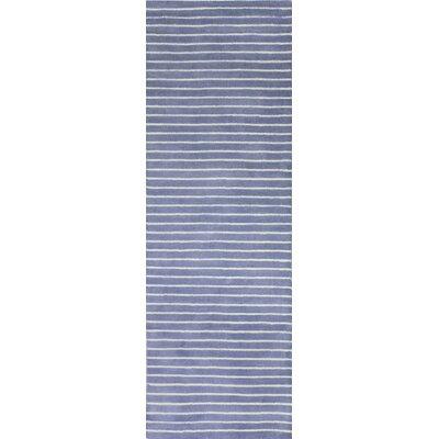 Huslia Hand-Woven Wool Blue Area Rug Rug Size: Runner 2'6