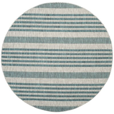 Naya Gray/Blue Indoor/Outdoor Area Rug Rug Size: Round 67