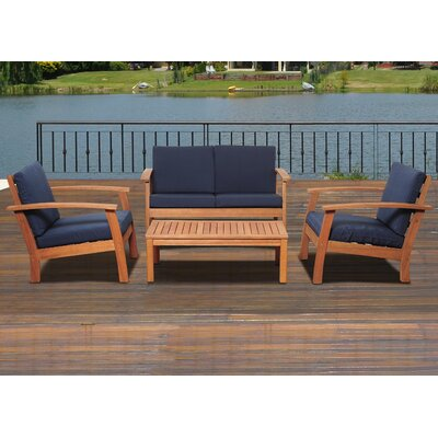 Elsmere 4 Piece Deep Seating Group with Cushion Fabric: Blue