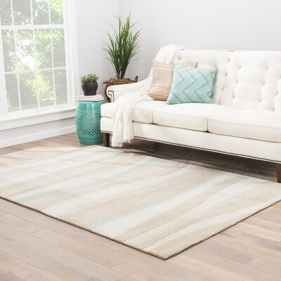 Margaret Hand-Tufted Beige/Blue Area Rug Rug Size: Rectangle 76 x 96