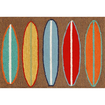 Helen Surfboards Hand-Tufted Brown/Blue Indoor/Outdoor Area Rug Rug Size: Rectangle 2 x 5