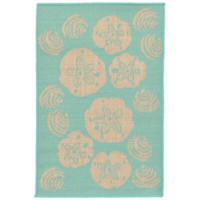 Clatterbuck Shell Toss Blue/Beige Indoor/Outdoor Area Rug Rug Size: Rectangle 111 x 211