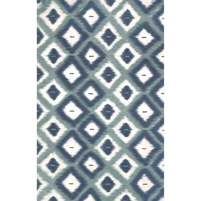 Visions II Aqua Ikat Diamonds Indoor/Outdoor Area Rug Rug Size: Rectangle 36 x 56