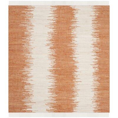 Ona Hand-Woven Orange Area Rug Rug Size: Square 6