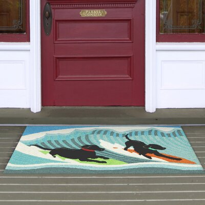 Olsen Surfing Dogs Blue Indoor/Outdoor Area Rug Rug Size: 26 x 4
