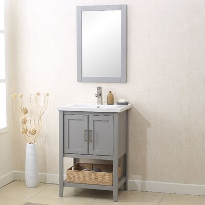 Annabel 24 Single Bathroom Vanity Set with Mirror Finish: Gray