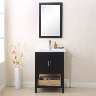 Annabel 24 Single Bathroom Vanity Set with Mirror Finish: Espresso