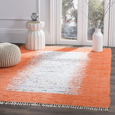 Ona Hand-Woven Cotton Ivory / Orange Area Rug Rug Size: 5 x 8