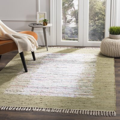 Ona Hand-Woven Ivory/Olive Area Rug Rug Size: Rectangle 5 x 8