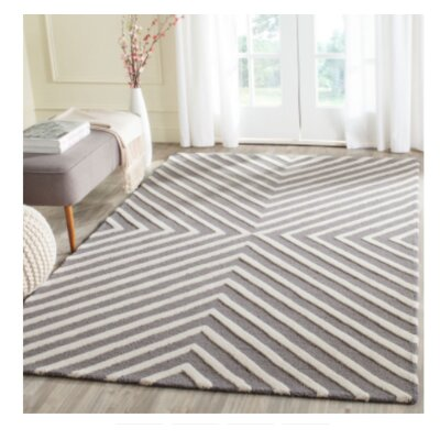 Weybridge Hand Woven Wool Light Blue/Ivory Area Rug Rug Size: Rectangle 4 x 6