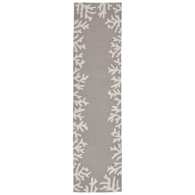 Claycomb Coral Border Hand-Tufted Silver Indoor/Outdoor Area Rug Rug Size: Runner 2 x 8