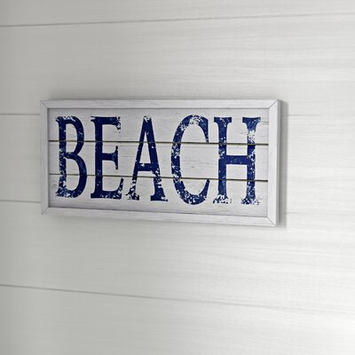 'Beach-Blue Sign' Framed Textual Art on Plaque