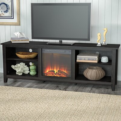 Sunbury 70 TV Stand with optional Fireplace Color: Black, Fireplace Included: Yes