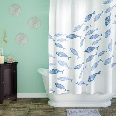 Cedarville Polyester Coastal Shower Curtain Color: Blue
