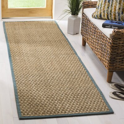 Richmond Natural/Light Blue Indoor Area Rug Rug Size: Runner 26 x 14