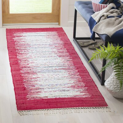 Static Hand-Woven Cotton Red Area Rug Rug Size: Runner 23 x 7
