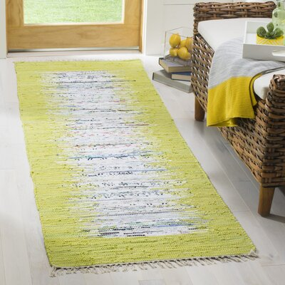 Ona Hand-Woven Cotton Ivory/Lime Area Rug Rug Size: Runner 23 x 7