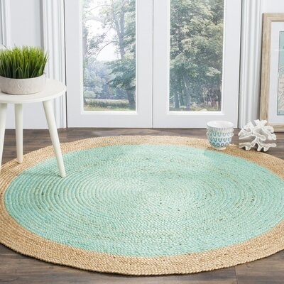 Cayla Fiber Hand-Woven Aqua/Natural Area Rug Rug Size: Round 6