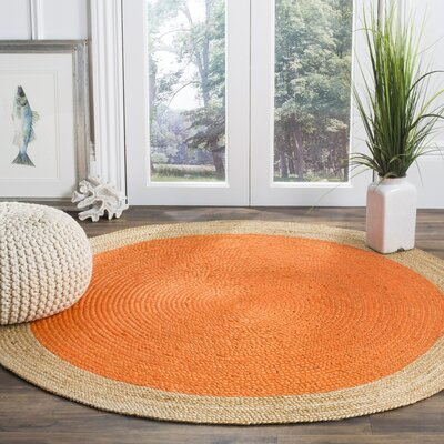 Cayla Fiber Hand-Woven Orange/Natural Area Rug Rug Size: Round 3
