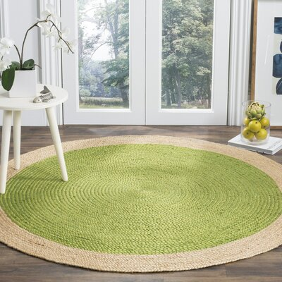Cayla Fiber Hand-Woven Green/Natural Area Rug Rug Size: Round 6