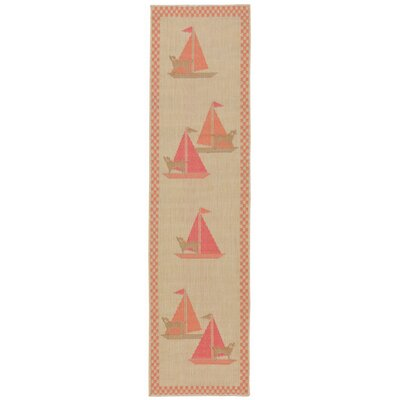 Coeur Sailing Dogs Beige Indoor/Outdoor Area Rug Rug Size: Runner 111 x 76
