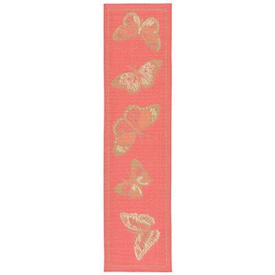 Coeur Butterfly Pink Indoor/Outdoor Area Rug Rug Size: Runner 111 x 76