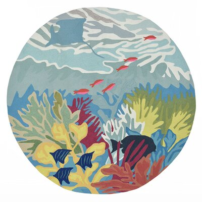 Clowers Ocean View Hand-Tufted Blue Indoor/Outdoor Area Rug Rug Size: Round 5