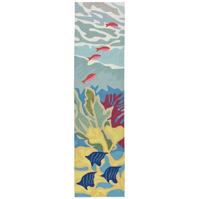 Clowers Ocean View Hand-Tufted Blue Indoor/Outdoor Area Rug Rug Size: Runner 2 x 8