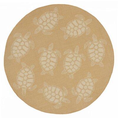 Clatterbuck Seaturtle Almond/Camel Indoor/Outdoor Area Rug Rug Size: Round 710