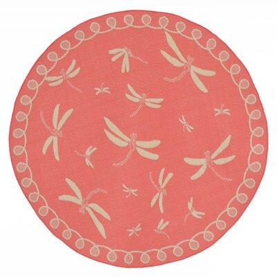 Clatterbuck Dragonfly Pink/Beige Indoor/Outdoor Area Rug Rug Size: Round 710