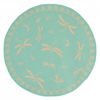 Clatterbuck Dragonfly Blue/Beige Indoor/Outdoor Area Rug Rug Size: Round 710