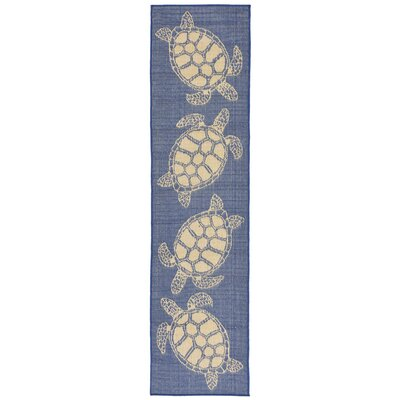 Clatterbuck Seaturtle Navy/Beige Indoor/Outdoor Area Rug Rug Size: Runner 111 x 76