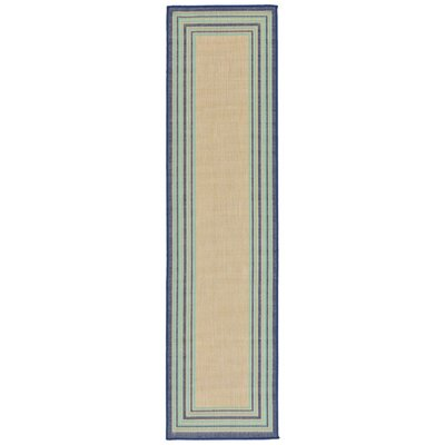 Clatterbuck Border Navy Blue/Baby Blue/Beige Indoor/Outdoor Area Rug Rug Size: Runner 111 x 76