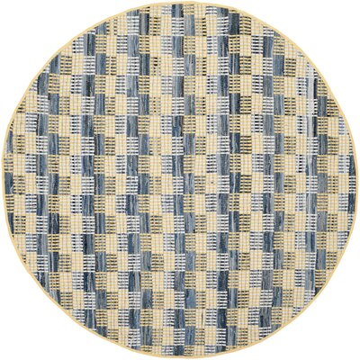 Alberta Hand-Woven Gold Area Rug Rug Size: Round 4