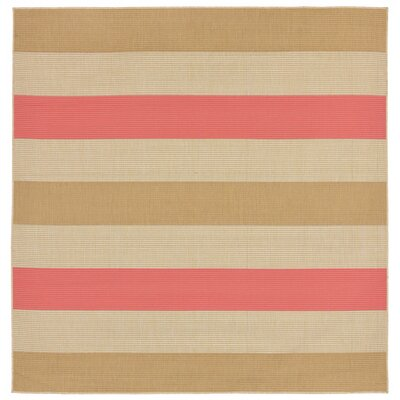 Larana Stripe Beige/Pink Indoor/Outdoor Area Rug Rug Size: Square 710