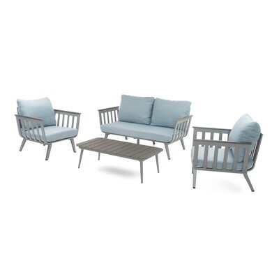 Burnett 4 Piece Deep Seating Group with Cushion Fabric: Sky Blue, Frame Finish: Charcoal