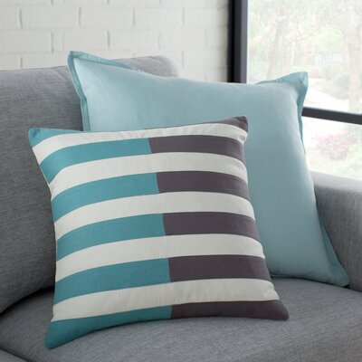 Kinslee 100% Cotton Throw Pillow Cover Size: 20 H x 20 W x 1 D, Color: BlackBlue